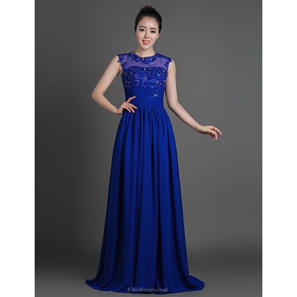 Sheath/Column Mother of the Bride Dress - Royal Blue Floor-length Chiffon / Lace / Tulle Mother Of The Bride Dresses