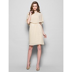 Sheath Column Plus Sizes Petite Mother Of The Bride Dress Champagne Knee Length Half Sleeve Georgette