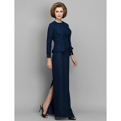 Sheath Column Mother Of The Bride Dress Dark Navy Floor Length Long Sleeve Chiffon