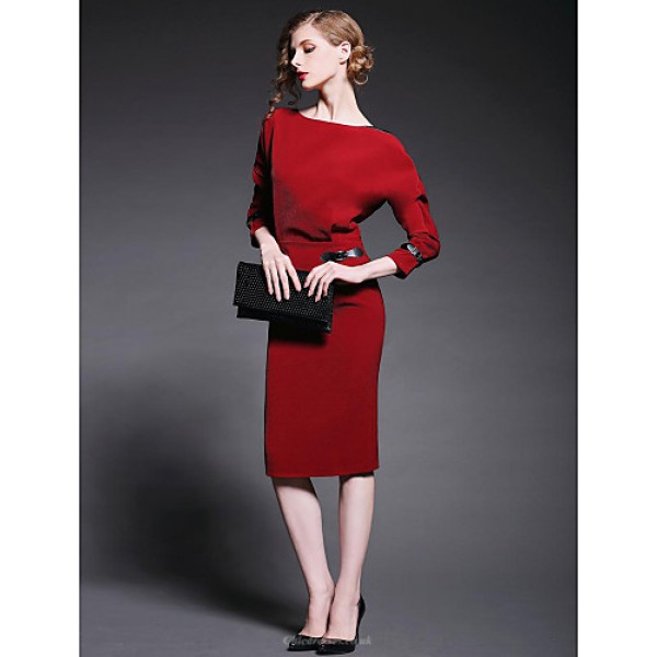 Sheath/Column Mother of the Bride Dress - Ruby / Black Knee-length Long Sleeve Polyester Mother Of The Bride Dresses