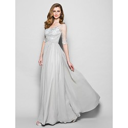 A-line Plus Sizes / Petite Mother of the Bride Dress - Silver Floor-length Half Sleeve Chiffon / Tulle