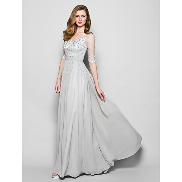 A-line Plus Sizes / Petite Mother of the Bride Dress - Silver Floor-length Half Sleeve Chiffon / Tulle Mother Of The Bride Dresses