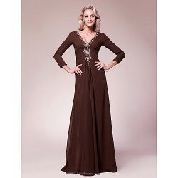 A Line Plus Sizes Petite Mother Of The Bride Dress Chocolate Floor Length 3 4 Length Sleeve Chiffon