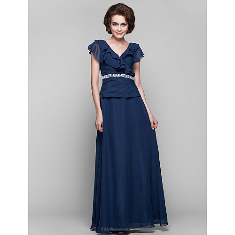 0f2d9c8e936 A-line Plus Sizes   Petite Mother of the Bride Dress - Dark Navy Floor