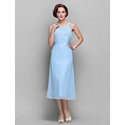 Sheath Column Plus Sizes Petite Mother Of The Bride Dress Sky Blue Tea Length Sleeveless Chiffon