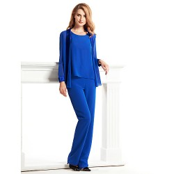 Sheath/Column Mother of the Bride Dress - Royal Blue Ankle-length Long Sleeve Chiffon / Charmeuse