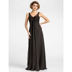 Sheath/Column Plus Sizes / Petite Mother of the Bride Dress - Black Floor-length Sleeveless Chiffon