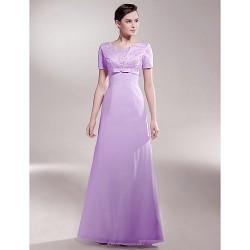 A-line Plus Sizes / Petite Mother of the Bride Dress - Lilac Floor-length Short Sleeve Chiffon / Satin