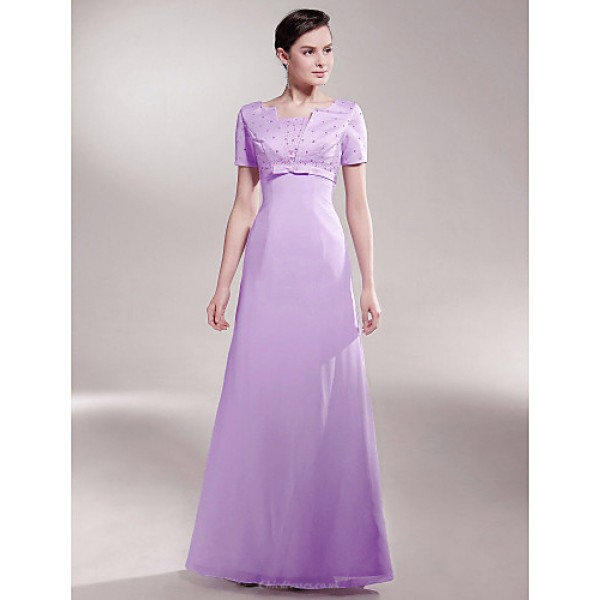 A-line Plus Sizes / Petite Mother of the Bride Dress - Lilac Floor-length Short Sleeve Chiffon / Satin Mother Of The Bride Dresses