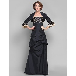 A-line Plus Sizes / Petite Mother of the Bride Dress - Black Floor-length 3/4 Length Sleeve Taffeta / Lace