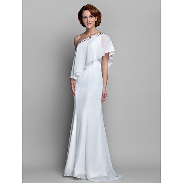 A-line Plus Sizes / Petite Mother of the Bride Dress - Ivory Floor-length Sleeveless Chiffon Mother Of The Bride Dresses