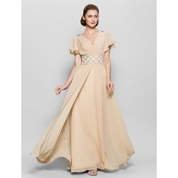 A Line Mother Of The Bride Dress Champagne Floor Length Short Sleeve Chiffon