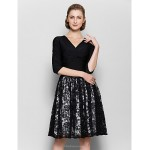A-line Mother of the Bride Dress - White / Black Knee-length Half Sleeve Lace / Jersey Mother Of The Bride Dresses