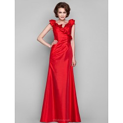 Dress - Ruby Plus Sizes / Petite Sheath/Column V-neck Floor-length Taffeta
