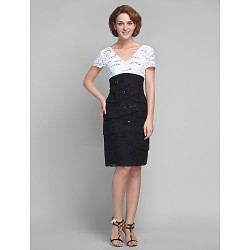 Sheath/Column Plus Sizes / Petite Mother of the Bride Dress - Multi-color Knee-length Short Sleeve Lace