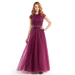 A Line Mother Of The Bride Dress Fuchsia Ankle Length Short Sleeve Lace Tulle