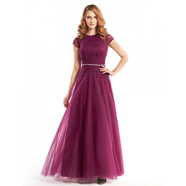 A-line Mother of the Bride Dress - Fuchsia Ankle-length Short Sleeve Lace / Tulle Mother Of The Bride Dresses