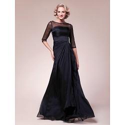 A Line Plus Sizes Petite Mother Of The Bride Dress Black Floor Length Half Sleeve Chiffon Stretch Satin