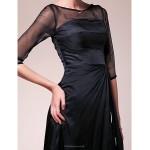 A-line Plus Sizes / Petite Mother of the Bride Dress - Black Floor-length Half Sleeve Chiffon / Stretch Satin Mother Of The Bride Dresses