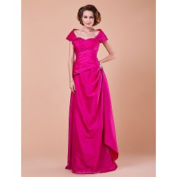 Sheath Column Plus Sizes Petite Mother Of The Bride Dress Fuchsia Floor Length Short Sleeve Taffeta