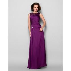 Sheath/Column Plus Sizes / Petite Mother of the Bride Dress - Grape Floor-length Sleeveless Satin Chiffon