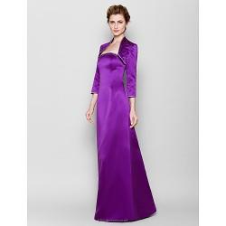 Sheath/Column Plus Sizes / Petite Mother of the Bride Dress - Grape Floor-length 3/4 Length Sleeve Satin