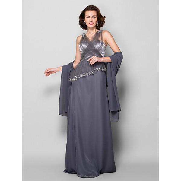 Sheath/Column Plus Sizes / Petite Mother of the Bride Dress - Silver Floor-length Sleeveless Georgette / Tulle Mother Of The Bride Dresses