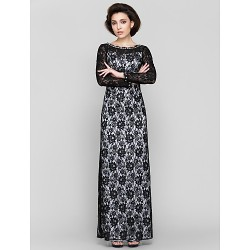 Sheath/Column Mother of the Bride Dress - Black Ankle-length Long Sleeve Lace