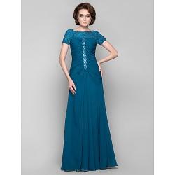 Dress Ink Blue Plus Sizes Petite Sheath Column Bateau Floor Length Chiffon Lace