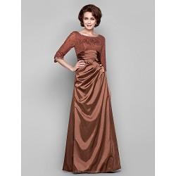Dress Brown Plus Sizes Petite Sheath Column Bateau Floor Length Lace Charmeuse
