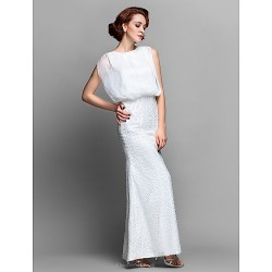 Sheath/Column Plus Sizes / Petite Mother of the Bride Dress - Ivory Floor-length Sleeveless Chiffon / Lace