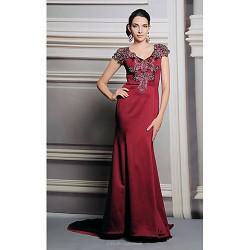 Formal Evening Dress Trumpet Mermaid V Neck Floor Length