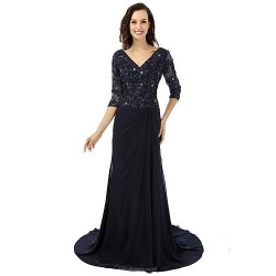 Ball Gown Mother of the Bride Dress - Black Sweep/Brush Train Chiffon