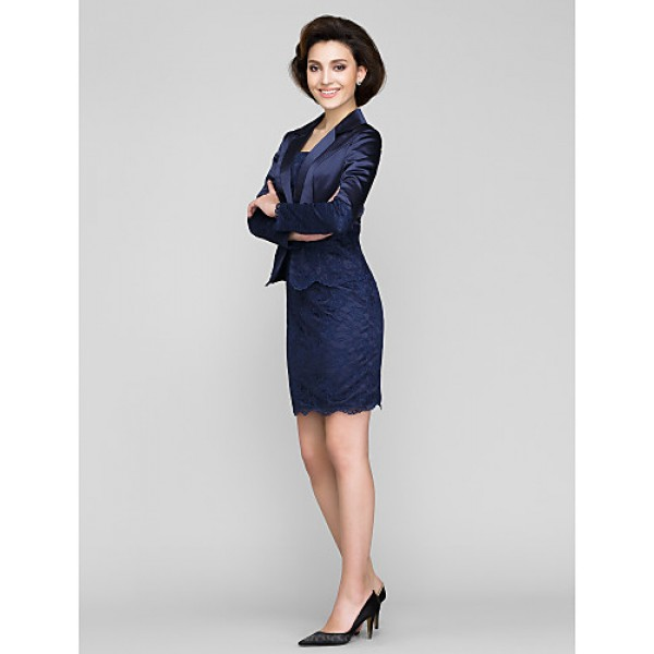 Sheath/Column Mother of the Bride Dress - Dark Navy Short/Mini Long Sleeve Lace / Charmeuse Mother Of The Bride Dresses