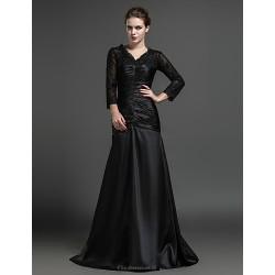 Sheath Column Mother Of The Bride Dress Black Floor Length Satin Tulle