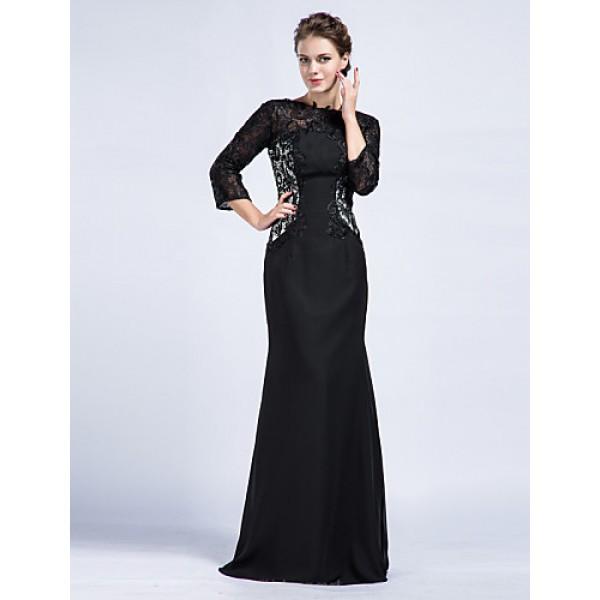 Trumpet/Mermaid Mother of the Bride Dress - Black Floor-length Chiffon Mother Of The Bride Dresses