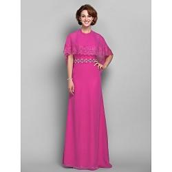 Sheath/Column Plus Sizes / Petite Mother of the Bride Dress - Fuchsia Floor-length Short Sleeve Chiffon / Lace