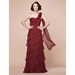 A Line Plus Sizes Petite Mother Of The Bride Dress Burgundy Floor Length Sleeveless Chiffon