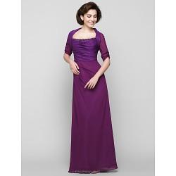 Sheath Column Mother Of The Bride Dress Grape Ankle Length Half Sleeve Chiffon Charmeuse