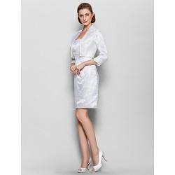 Sheath Column Mother Of The Bride Dress Ivory Knee Length 3 4 Length Sleeve Satin