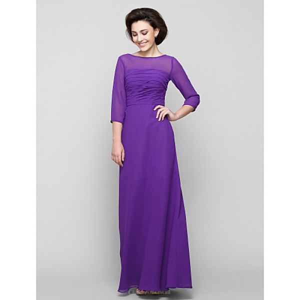 A-line Mother of the Bride Dress - Grape Ankle-length 3/4 Length Sleeve Chiffon Mother Of The Bride Dresses