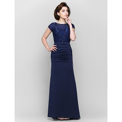 Trumpet Mermaid Mother Of The Bride Dress Dark Navy Ankle Length Short Sleeve Lace Jersey