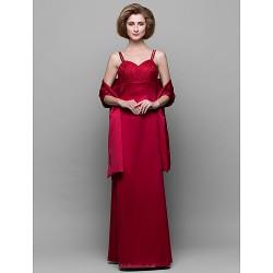 Sheath Column Mother Of The Bride Dress Ruby Floor Length Sleeveless Satin