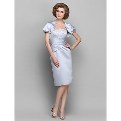 Sheath/Column Mother of the Bride Dress - Silver Knee-length Short Sleeve Satin / Taffeta