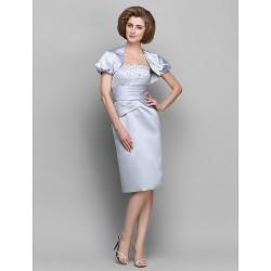 Sheath Column Mother Of The Bride Dress Silver Knee Length Short Sleeve Satin Taffeta