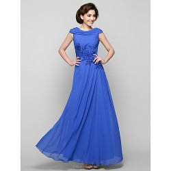 A Line Mother Of The Bride Dress Royal Blue Ankle Length Sleeveless Chiffon