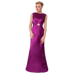 Sheath Column Mother Of The Bride Dress Fuchsia Floor Length Satin Silk