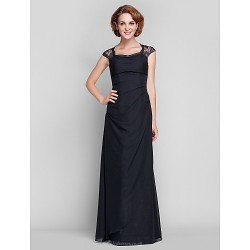 Sheath/Column Plus Sizes / Petite Mother of the Bride Dress - Black Floor-length Sleeveless Chiffon / Lace