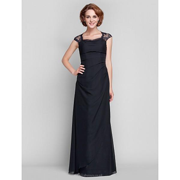 Sheath/Column Plus Sizes / Petite Mother of the Bride Dress - Black Floor-length Sleeveless Chiffon / Lace Mother Of The Bride Dresses