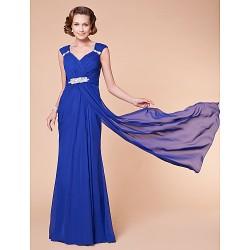 Sheath/Column Plus Sizes / Petite Mother of the Bride Dress - Royal Blue Floor-length Sleeveless Chiffon